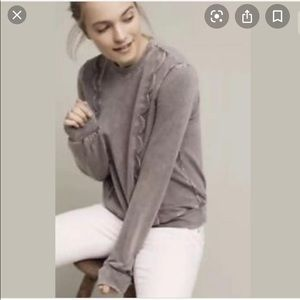 Anthropologie Crew Neck Scalloped Sweater
